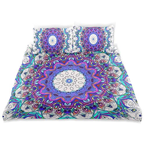 OSBLI Bedding Duvet Cover Set 3 Pieces Mandala Peacock Feather Bed Sheets Sets and 2 Pillowcase for Teens