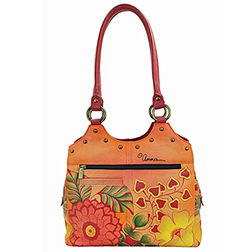 Anuschka Hobo Summer Holder Painted Leather Anna Quality Purse on Design top Top Bloom U Free by Purse Handbag Real Hand Med HEZzn5qz