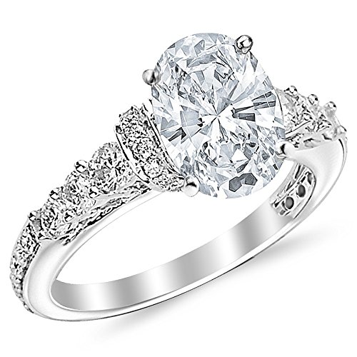 1.35 Ctw 14K White Gold GIA Certified Oval Cut Designer Four Prong Pave Set Round Diamonds Engagement Ring, 0.5 Ct I-J VVS1-VVS2 Center