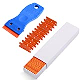 "Ehdis® 1.5"" High Visibility Mini Razor Plastic Double Edged Blade Scraper with 100PCS Plastic Razor Scraper Blades for Scraping Labels and Decals from Glass, Windshields"
