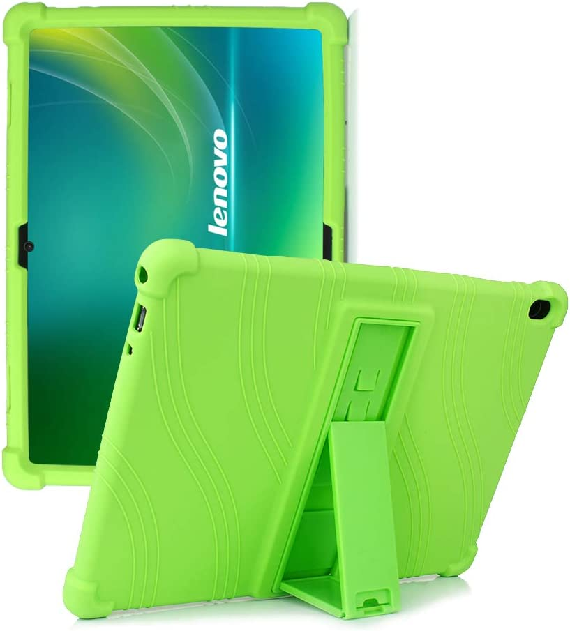 "HminSen Case for Lenovo Tab M10 / P10, [Anti Slip] Colorful Shockproof Protective Silicone Case for Lenovo Tab M10 (TB-X605F) /P10 (TB-X705F) 10.1"" Tablet Cover 2018 Released (Green)"