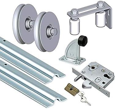 Bauer – Juego de puertas correderas para atornillar, puerta corredera con ranura redonda Hoftor HOF: Amazon.es: Bricolaje y herramientas