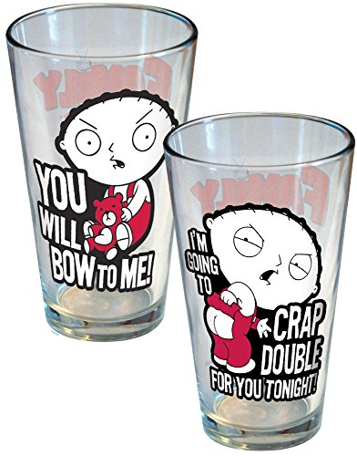 ICUP Family Guy Stewie Attitude Pint Glass (2 Pack), Clear