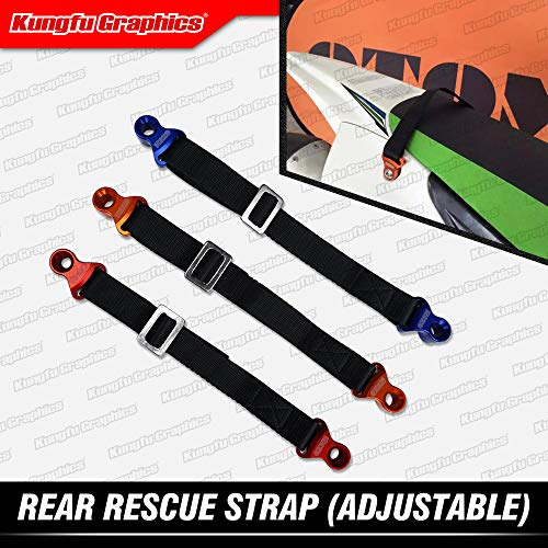 (Kungfu Graphics Rear Adjustable Rescue Strap Tugger Pull Strap Rope for Yamaha Kawsaki Suzuki Honda Dirtbikes Motocross Enduro Supercross Universal, Red((NOT Available for KTM,Yamaha YZF and WR))