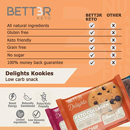 Healthy Keto Snacks Chocolate Chips Cookies by Bett3r Keto | Low Carb High Fat | Ketogenic, Primal, Paleo, Atkins | Almond Flour, Sugar Free, Dairy and Gluten Free, All natural Ingredients| 6 Cookies 7