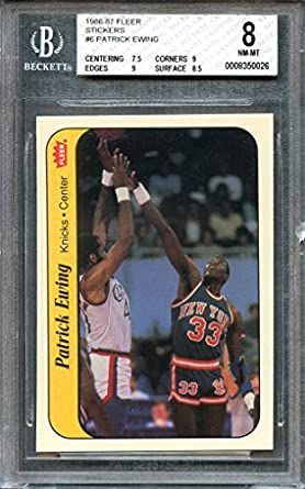 1986 87 fleer stickers 6 patrick ewing knicks rookie card bgs 8 7 5