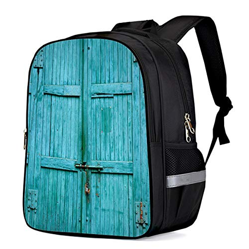 Backpack for Children/Boys/Girls Green Old Wood Barndoor 3D Printing Shool Book Bag Daypacks Satchel Rucksack Hiking Travel Shoulders Bag Fits - Barndoor Frame