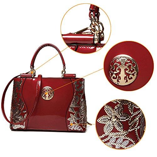 Luce Vernice In Sacchetto Di 28 Ricamati Qualità h Obliquo Spalla Donne Ol Obliqua Modo Rossa Alta Materiale jvps YqzUwX