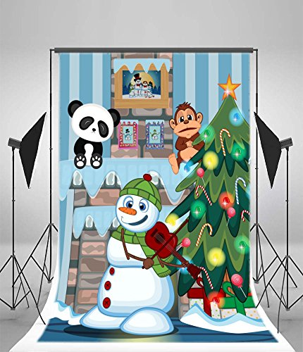 Laeacco 5x7FT Vinyl Backdrop Christmas Tree and Fireplace Cartoon Photography Background Snowman with Green Head Cover and Green Scarf Playing The Violin Photo Backdrop Children Portrait