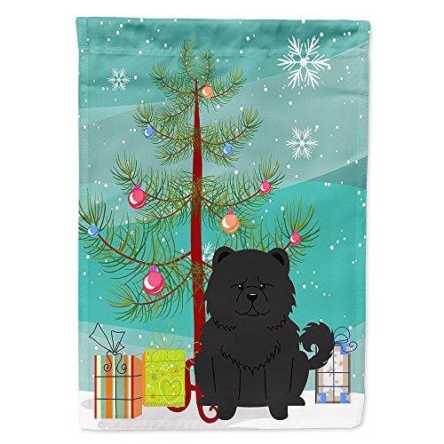 Caroline's Treasures BB4268GF Merry Christmas Tree Chow Chow Black Garden Size Flag, Small, Multicolor ()
