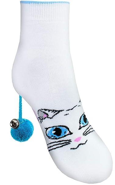 Rainbow Socks - Mujer Gato Calcetines Felpa - Cat Socks Box - 1 Par - Blanco - Talla UE 36-40: Amazon.es: Ropa y accesorios