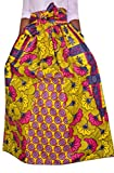 OULIU Womens African Floral Print High Waist Chiffon Maxi Skirts Yellow M