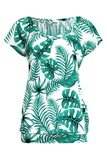 Floral Flutter Sleeve Dress - Jusfitsu Tropical Shirts for Women Down Tunic Low Vneck Blouse Palm L