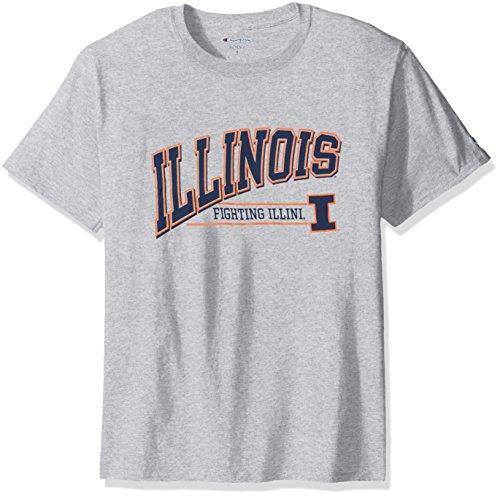 (NCAA Illinois Illini Men's Champ Short sleeve T-Shirt 4, Medium, Oxford Heather)