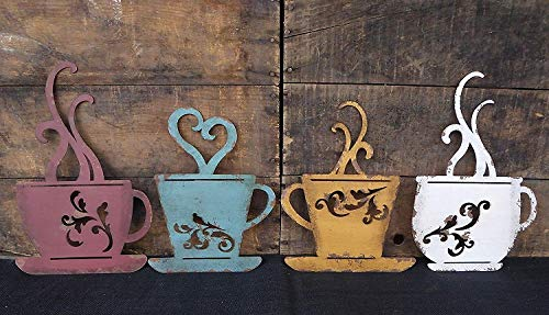 Collection Metal Coffee Cup Wall, Kitchen Restaurant Coffee Shop Decor! Set of 4 by Generic