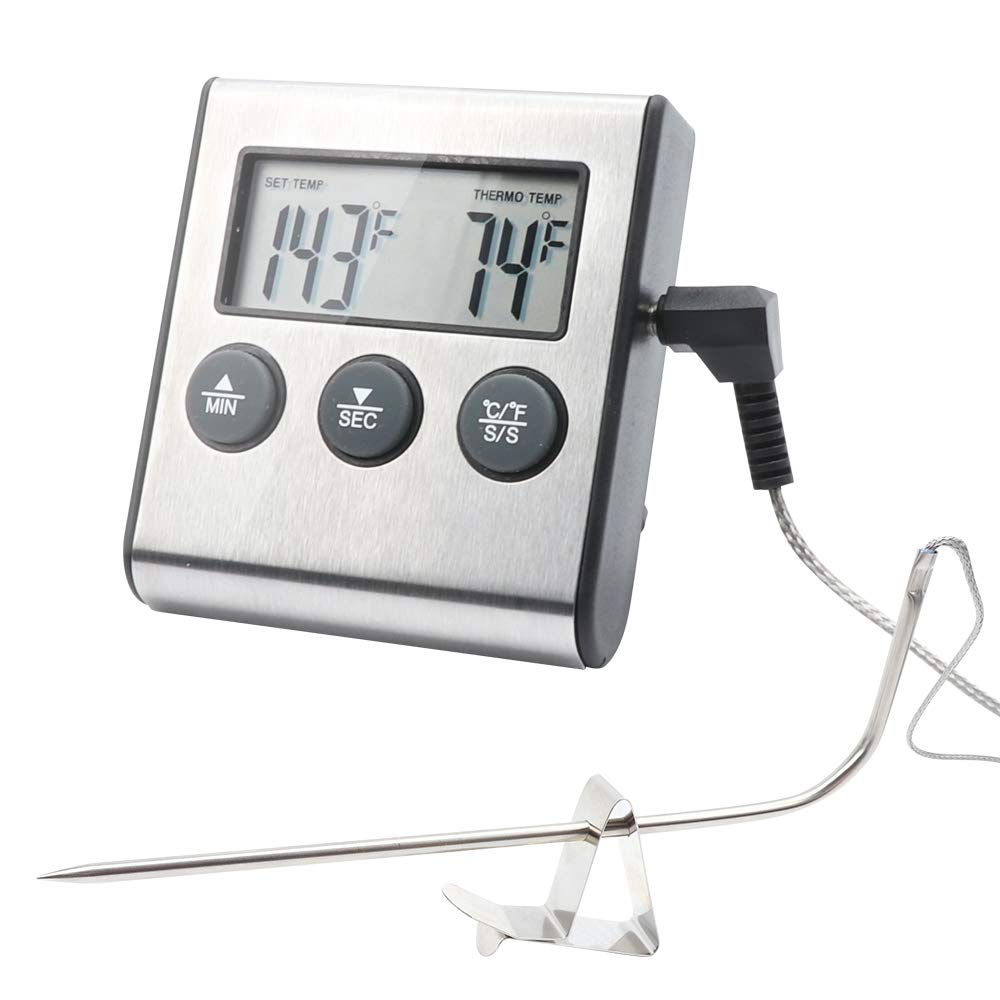 TLOG Digital Meat Thermometer & Timer, Large LCD Digital Cooking Food Thermometer with Probe, Stainless Steel Instant Read Grill/Roasting Thermometers for Smoker Outdoor Oven Kitchen BBQ, Silver