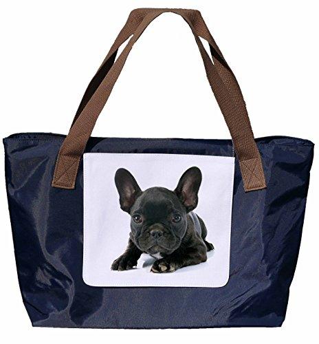 Shopper /Schultertasche / Einkaufstasche / Tragetasche / Umhängetasche aus Nylon in Navyblau - Größe 43x33cm - Motiv: Französische Bulldogge - 04