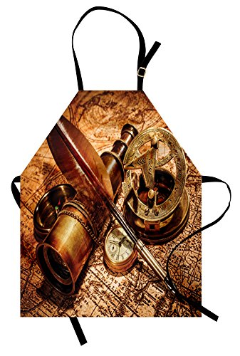 Ambesonne Antique Apron, Compass Goose Quill Pen Spyglass and a Pocket Watch Lying on an Old Map Print, Unisex Kitchen Bib Apron with Adjustable Neck for Cooking Baking Gardening, Orange Brown]()