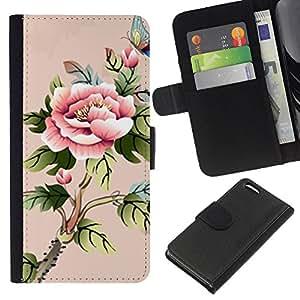 KLONGSHOP // Tirón de la caja Cartera de cuero con ranuras para tarjetas - arte babochka Akvarel cvety - Apple Iphone 5C //