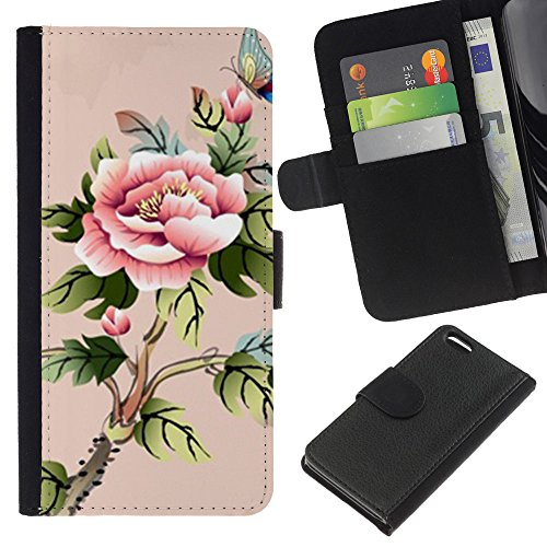 Lead-Star (art akvarel babochka cvety) Colorful Impression Holster Cuir Wallet Cover Housse Peau Cas Case Coque Pour Apple iPhone 5C