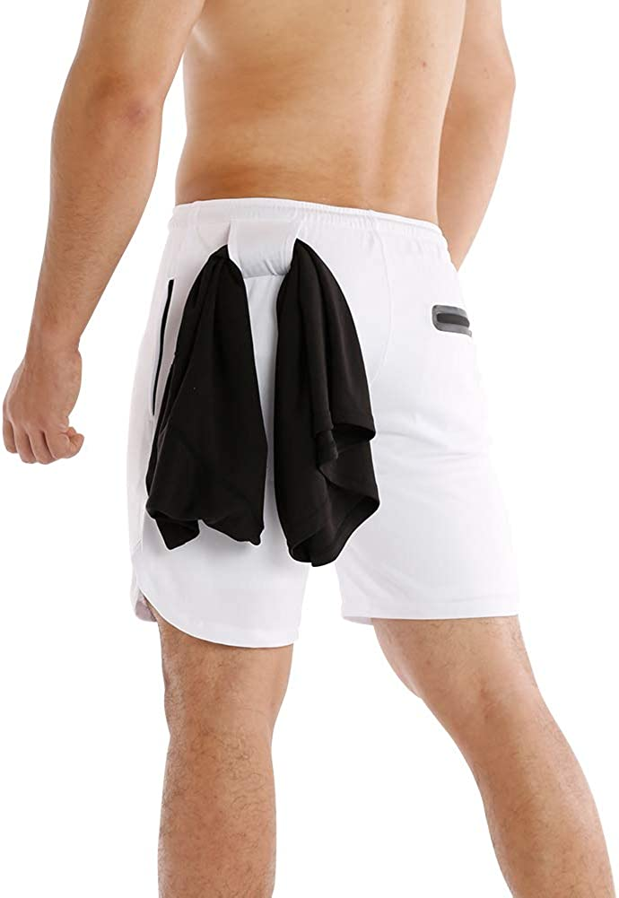"MECH-ENG Men's 2 in 1 Shorts Workout Running Training Gym 7"" Short with Towel Loop"
