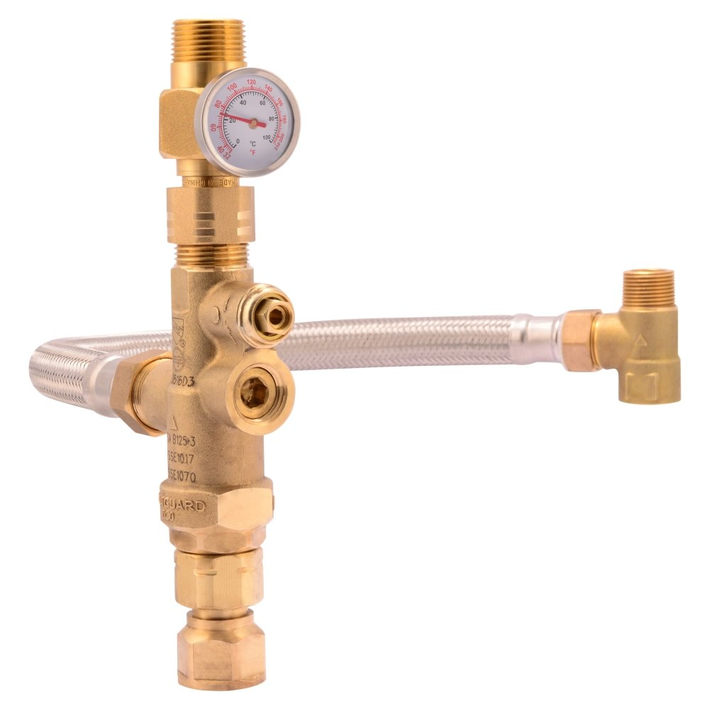 "Cash Acme Water Heater Tank Booster Pro, Thermostatic Mixing Valve 3/4"" with Temperature Gauge, Braided Hose, Domestic and Commercial Application"
