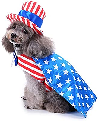 b64560a0c99 Vevins Uncle Sam Dog Costume with Hat Christmas Suit USA Patriotic Cosplay  Clothes Funny Halloween Party