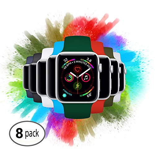 8 Pack Compatible with Apple Watch Sport Bands | A Variety Bundle Set Fits All Models, Series 1, 2, 3, 4, Nike+, Edition [Color: Jungle | Size: 44mm or 42mm S/M]