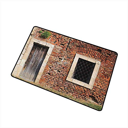 Rustic Inlet Outdoor Door mat Old Door and Window Brick Wall Suburban Area European Aged House Entrance Catch dust Snow and mud W15.7 x L23.6 Inch Brown Cream Redwood