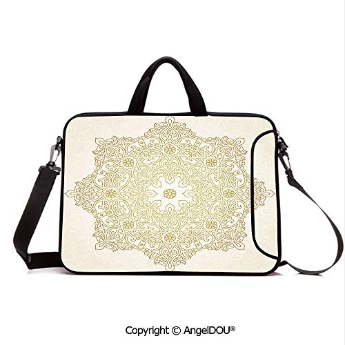 AngelDOU Waterproof Laptop Sleeve Bag Neoprene Carrying Case with Handle & Strap Antique Lace Pattern Blooming Asian Garden Theme Filigree Style Traditional Deco for Women &Men Work Home Office Coco