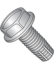 """18-8 Stainless Steel Thread Cutting Screw, Plain Finish, Hex Washer Head, Type F, 10-24 Thread Size, 1/2"""" Length (Pack of 25)"""