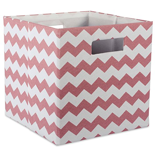 DII Hard Sided Collapsible Fabric Storage Container for Nursery, Offices, Home Organization, (13x13x13) – Chevron Rose
