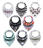 Baby Bandana Bibs, Drool Bibs for Drooling, Teething, Special Needs, Feeding, Boy/Girl Assorted Apron ,8-Pack, Baby Shower Gift Set, Absorbent Cotton Protects Clothes, Soft Poly Fleece Lined, BPA Free