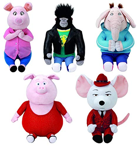 Set of 5 Sing Characters from The Movie! - Johnny, Mike, Gunter, Rosita, and Meena! - Great as Big Gift, or to Give Out to Everyone! - Classic TY Quality