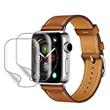PEYOU Leather Band Compatible for Apple Watch Series 4 44mm Series 3/2/1 42mm,【2 Pack Screen Protectors for Free】 Top Genuine Leather Band Vintage Replacement Strap for iWatch 44mm 42mm Band,Brown