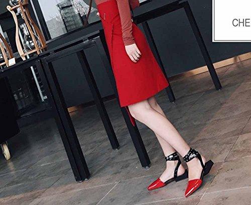 punta donna tacco SHINIK con alla cinturino a alla Sandali con cinturino Cinturino con alla da caviglia caviglia Rosso caviglia basso wrEqXg0xq