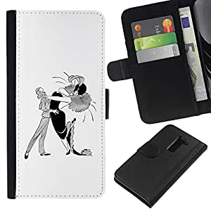 ZCell / LG G2 D800 / Dance Caricature Man Woman Drawing Art / Caso Shell Armor Funda Case Cover Wallet / Danza caricatura hombre mujer Dibujo Art