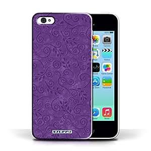 KOBALT? Protective Hard Back Phone Case / Cover for Apple iPhone 5C | Purple Design | Swirl Leaf Pattern Collection
