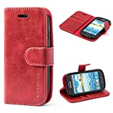 samsung galaxy s3 flip cases - Samsung Galaxy S3 mini Case,Mulbess Leather Case, Flip Folio Book Case, Money Pouch Wallet Cover with Kick Stand for Samsung Galaxy S3 mini,Wine Red