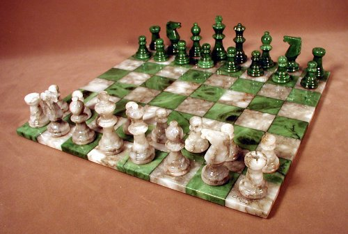Worldwise Imports Green and Grey Alabaster Chess Set by World Wise