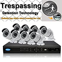 OWLTECH 16 Channel Trespassing Detection NVR support up to 5MP Resolution + 8 x 4MP 3.6mm IP Bullet Camera with Smart IR + WDR + POE + Mic Built in + 4TB HDD + 100ft cable and accessories