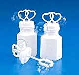 144 WHITE DOUBLE HEART WEDDING BUBBLES RETAIL BOXED