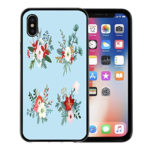 Emvency Phone Case for Apple iPhone Xs Case/iPhone X Case,Christmas Bouquets Made Fir Pine and Eucalyptus Tree Branches Soft Rubber Border Decorative, Black