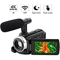 "4K Camcorder Video Camera WiFi Camcorder 48MP Ultra HD Digital Camera 3.0"" Touch Screen External Microphone Night Vision"