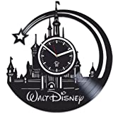 Walt Disney Pictures Vinyl Wall Clock, Castle Home Decor, Cartoons Movie, Best Gift For Girl, Vinyl Record Clock, Kovides, Valentines Day Gift, Walt Disney Birthday Gift, Silent, Wall Clock Modern