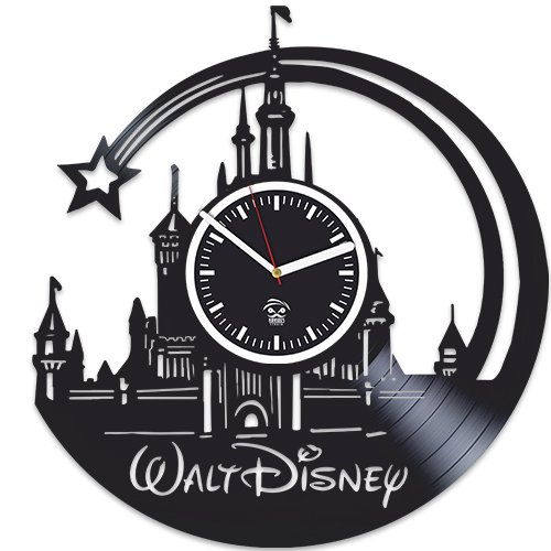 Walt Disney Pictures Vinyl Wall Clock, Castle Home Decor, Cartoons Movie, Best Gift For Girl, Vinyl Record Clock, Kovides, Valentines Day Gift, Walt Disney Birthday Gift, Silent, Wall Clock Modern by Kovides