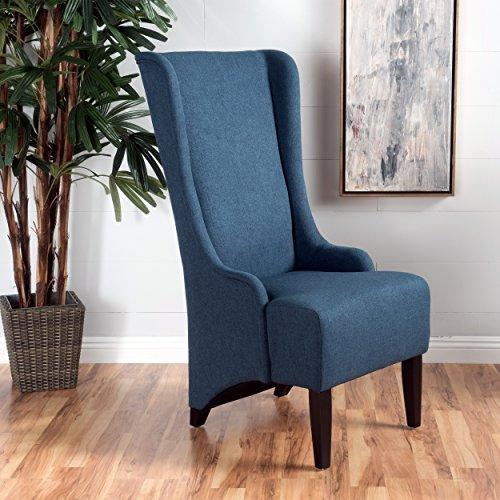 Christopher Knight Home 299945 Callie   Fabric Dining Chair, Dark Blue (Medium Oak Finish Blue Fabric)