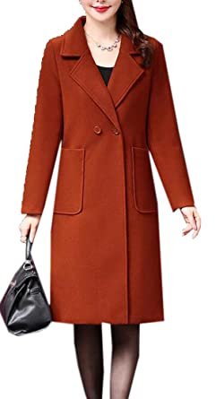 176d489758d Jotebriyo Women Lapel Mid Length Warm Winter Solid Wool Blended Trench Pea  Coat Jacket 1 XXS