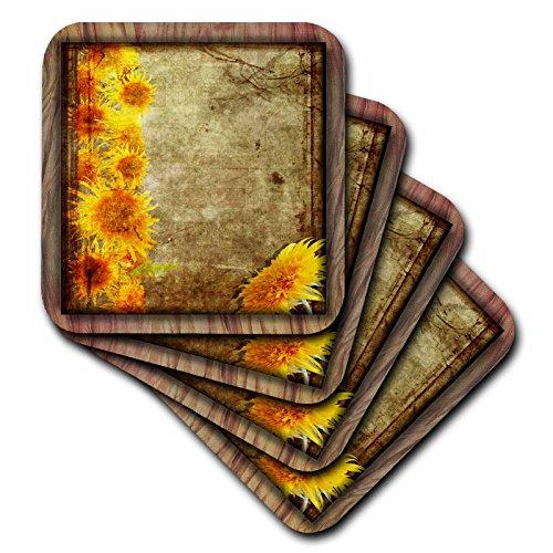(3dRose cst_31529_3 Sunflower Grunge-Ceramic Tile Coasters, Set of 4)