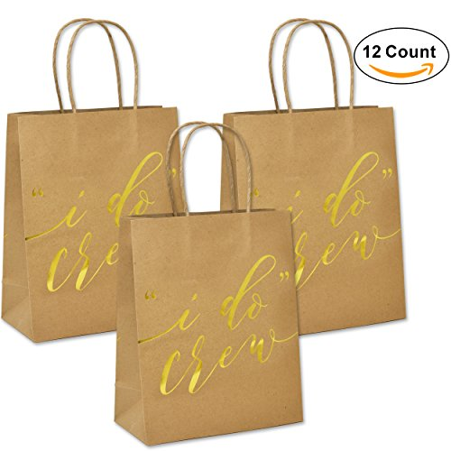Bridal Gift Bag - 12 I Do Crew Kraft Paper Gift Bags for Wedding Bridesmaid Bridal Shower Bachelorette Party
